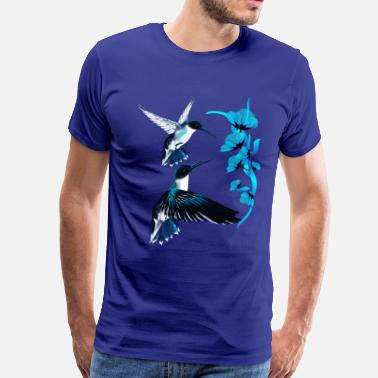 Blue Hummingbird Two Blue Hummingbirds - Men's Premium T-Shirt