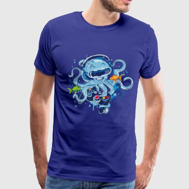 Spreadshirtlikes Octopus with gamepad and VR goggles - Men's Premium T-Shirt
