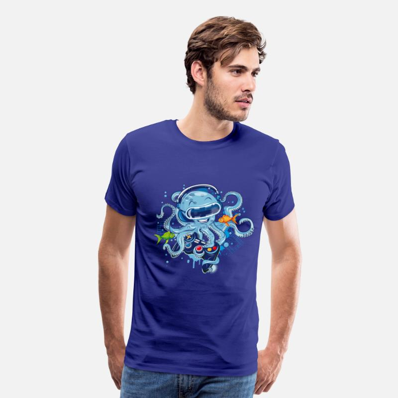 Nice T-Shirts - Octopus with gamepad and VR goggles - Men's Premium T-Shirt royal blue