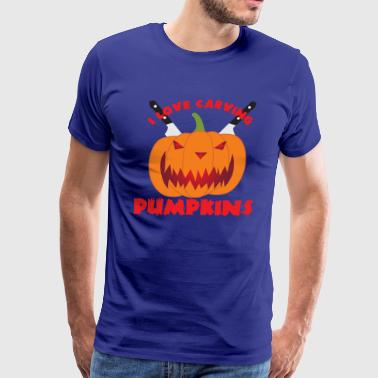 I Love Pumpkin Pie Pumpkin - I love carving pumpkins Halloween - Men's Premium T-Shirt