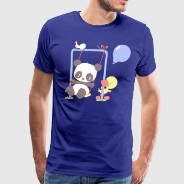 Cute Panda Bear on Swing - Men's Premium T-Shirt