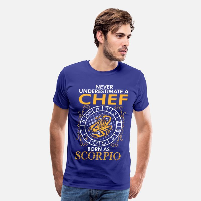 Age T-Shirts - Never Underestimate A Chef Born As Scorpio - Men's Premium T-Shirt royal blue
