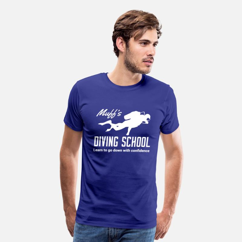 Attitude T-Shirts - Muff's Diving School. Go down with confidence - Men's Premium T-Shirt royal blue