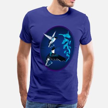 Blue Hummingbird Two Blue Hummingbirds Oval - Men's Premium T-Shirt