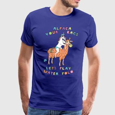 Angry Unicorn Alpaca Your Bags Let s Play Water Polo Female Un - Men's Premium T-Shirt