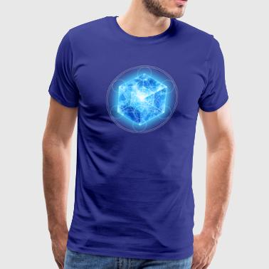 Metatrons Cube with TESSERACT, Hypercube 4D, digital, Symbol - Dimensional Shift,  - Men's Premium T-Shirt