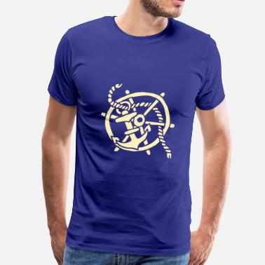 Vintage Ships Anchor ship steering wheel vintage tattoo anchor sailing  - Men's Premium T-Shirt