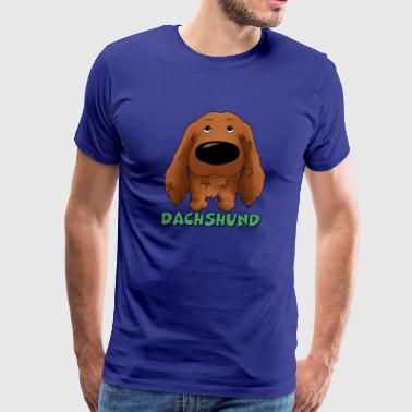 Big Nose Long Haired Dachshund - Men's Premium T-Shirt