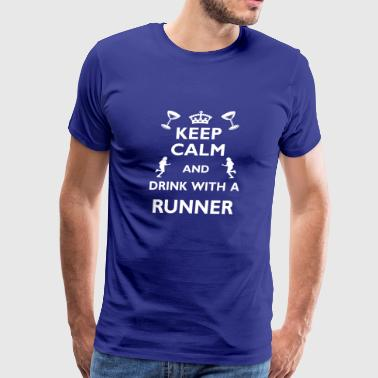 Running Run Cool Funny Gift - Drink with Runner - Men's Premium T-Shirt