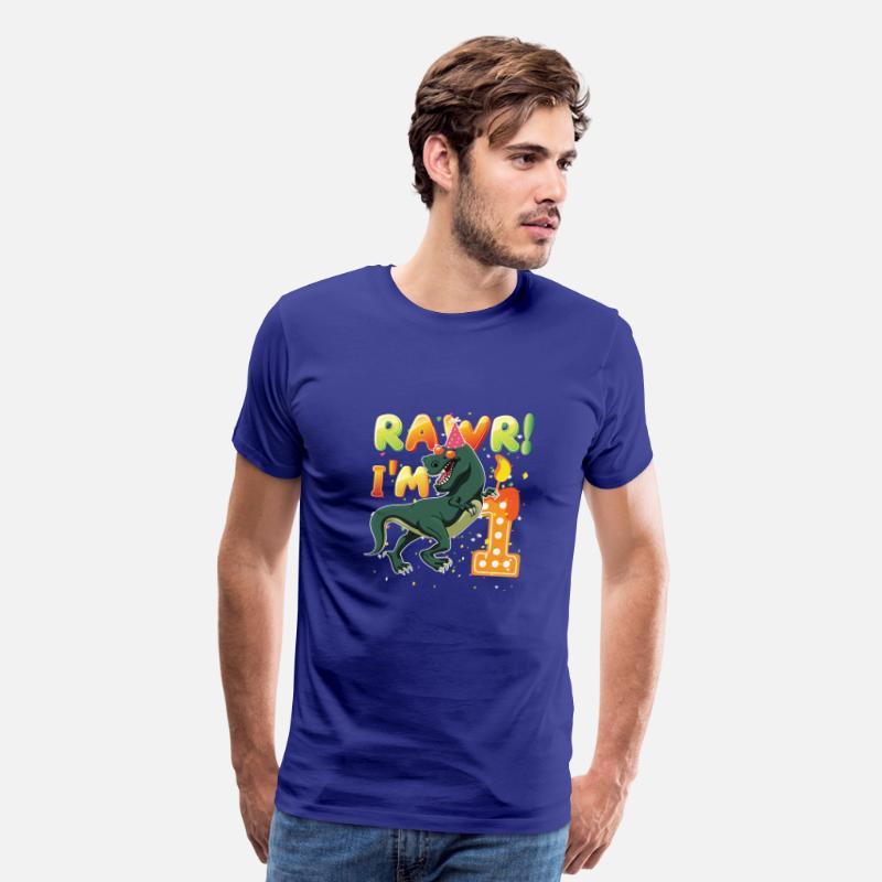 Dinosaur 1st Birthday Shirt 1 Years Old Rawr Im 1Mens Premium T