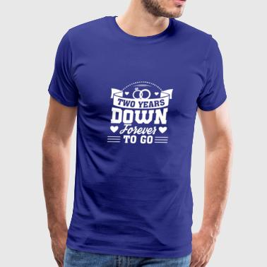 2nd Wedding Anniversary Down Forever To Go - Men's Premium T-Shirt
