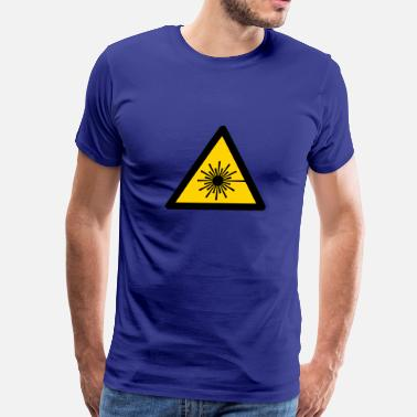 Laser Warning Sign Hazard Symbol - Laser Light (2-color) - Men's Premium T-Shirt