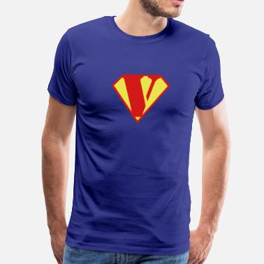 Super Muscle Man Body Builder - V - Men's Premium T-Shirt