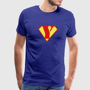 Super Muscle Man Body Builder - Y - Men's Premium T-Shirt
