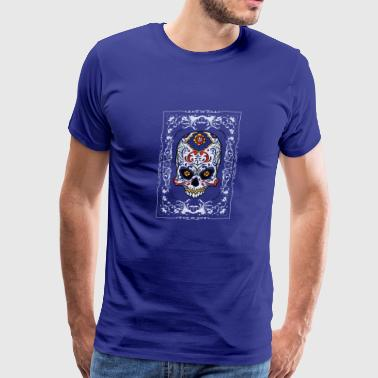 Skeleton Guitar Dia de los Muertos - Sugar Skull - Men's Premium T-Shirt