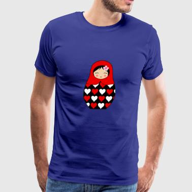 Matryoshka Doll Red Matryoshka doll with hearts - Men's Premium T-Shirt
