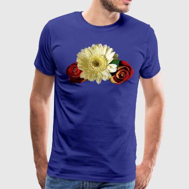 White Gerbera Daisy with Rosebuds - Men's Premium T-Shirt