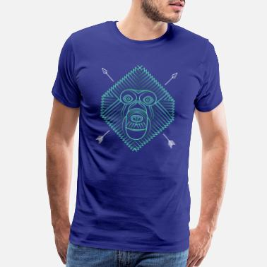 Baboon Cool Thin Line Animal Drawing - Men's Premium T-Shirt