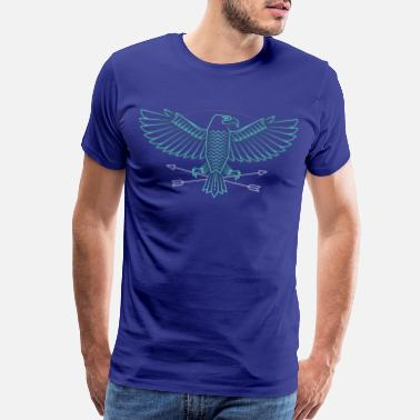 Lover Bald Cool Thin Line Flying Bald Eagle Drawing - Men's Premium T-Shirt