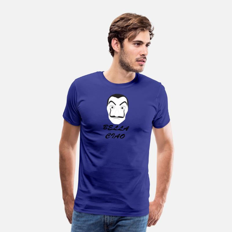 Professor T-Shirts - mask dali bella ciao la casa de papel - Men's Premium T-Shirt royal blue