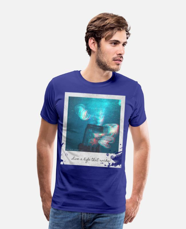 Space T-Shirts - Polaroid Jellyfish Mason Jar - Men's Premium T-Shirt royal blue