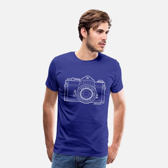 Photography T-Shirts - Asahi Pentax 35mm Vintage Camera Line Art (White) - Men's Premium T-Shirt royal blue