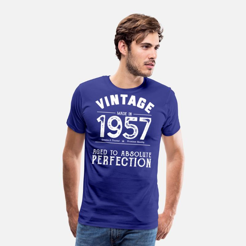 60th Birthday T-Shirts - 60th Birthday Gift: Vintage 1957 Aged Perfection - Men's Premium T-Shirt royal blue