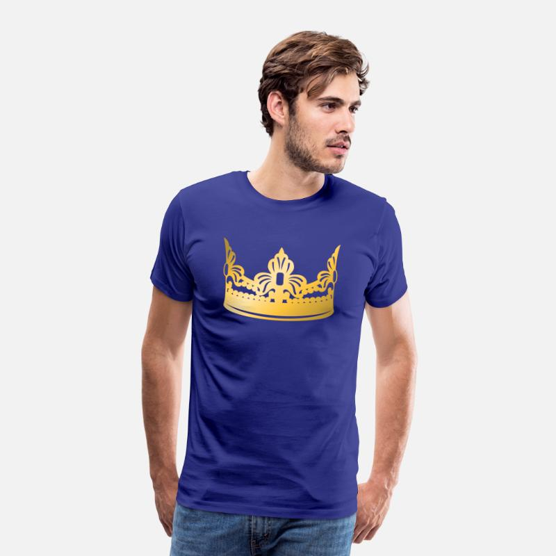 Gold T-Shirts - king-vip-golden-crown-roya-gold-boss-logo-vector - Men's Premium T-Shirt royal blue