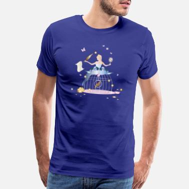 Gown Princess with a bird cage as a ball gown - Men's Premium T-Shirt