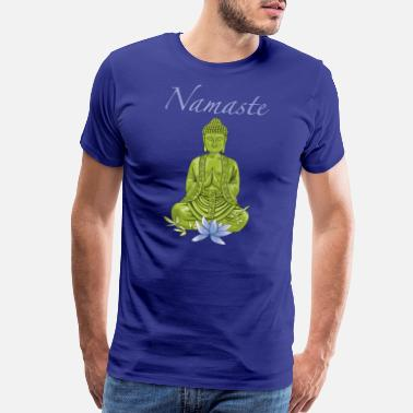Lotus Blossom Bouddha with blue lotus blossom - Men's Premium T-Shirt
