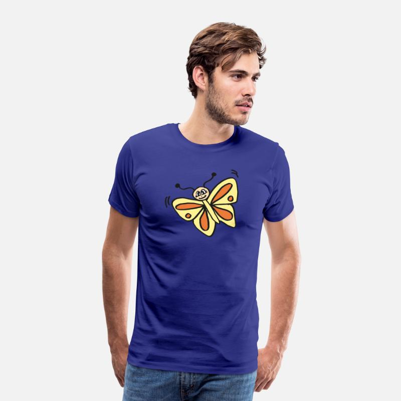 Gift Idea T-Shirts - cute butterfly with yellow-orange wings, gift - Men's Premium T-Shirt royal blue