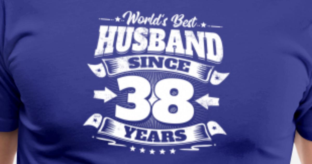 Wedding Day 38th Anniversary Gift Husband Hubby Men's Premium T-Shirt   Spreadshirt