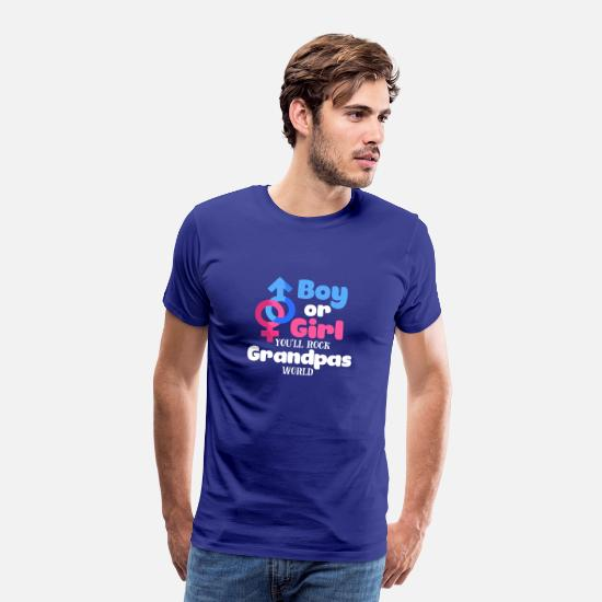 Shower T-Shirts - Boy Or Girl Gender Reveal Baby Shower Grandpa - Men's Premium T-Shirt royal blue