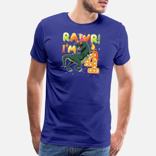 Dinosaur Birthday Shirt 4th Years Old Rawr Im 4 Mens Premium T