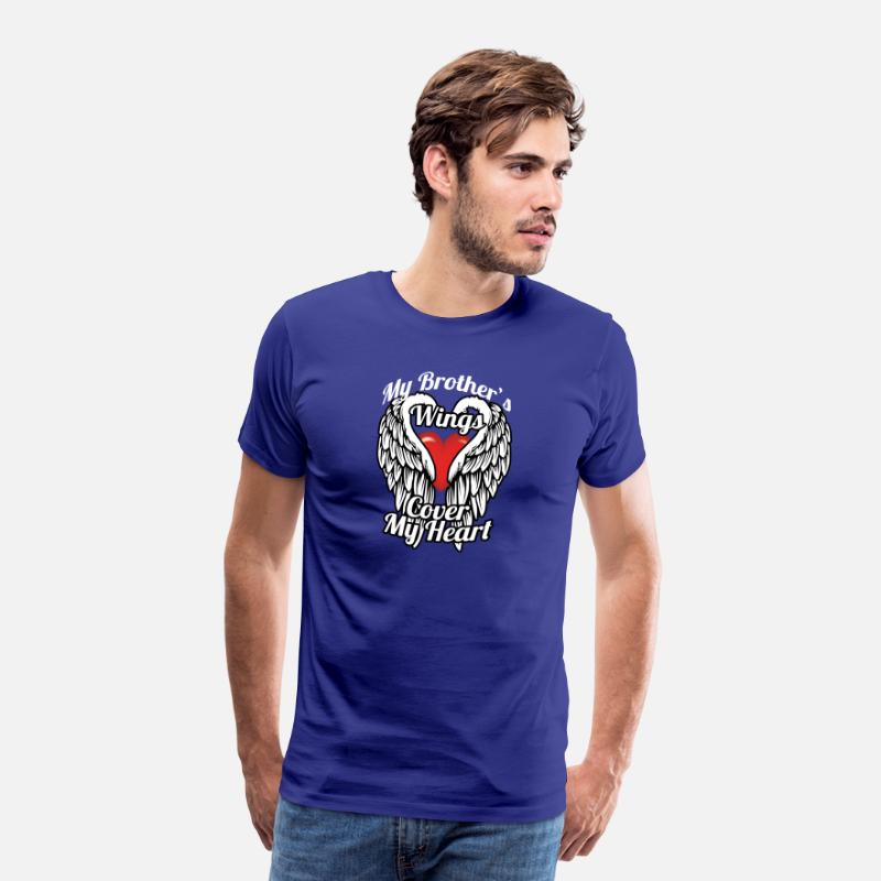 Cover T-Shirts - My brother's wings cover my heart - Men's Premium T-Shirt royal blue