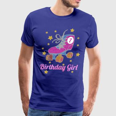 7th Birthday Girl Pink Glitter Roller Skate - Men's Premium T-Shirt
