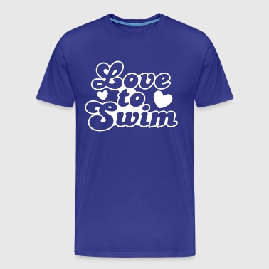 love to swim swimmer with love hearts - Men's Premium T-Shirt