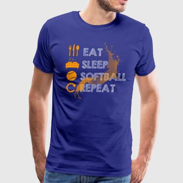 EAT SLEEP SOFTBALL AND REPEAT - Men's Premium T-Shirt