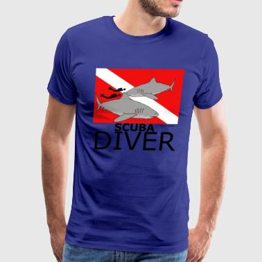 Scuba Divers with Sharks - Men's Premium T-Shirt