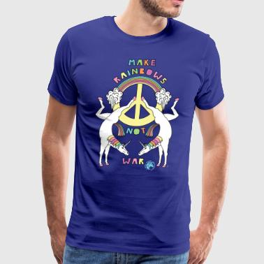 Make Rainbows Not War Unicorn Outline - Men's Premium T-Shirt