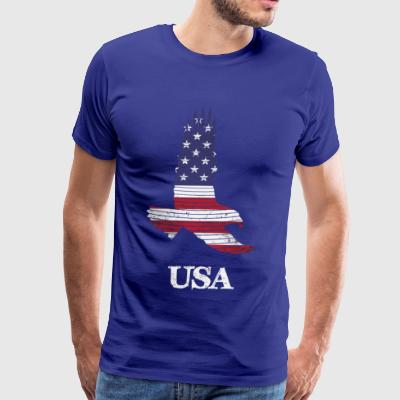 USA Flying Eagle Flag by Basement Mastermind - Men's Premium T-Shirt