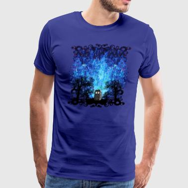 Lonely Blue Phone Booth Starry the night - Men's Premium T-Shirt