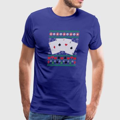 Poker Ugly Christmas Sweater Funny Holiday T-Shirt - Men's Premium T-Shirt