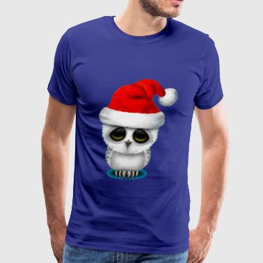 Baby Owl Wearing a Santa Hat - Men's Premium T-Shirt