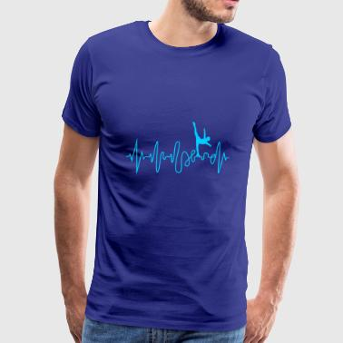Heartbeat Ice Skating Line Graphics Pulse - Men's Premium T-Shirt