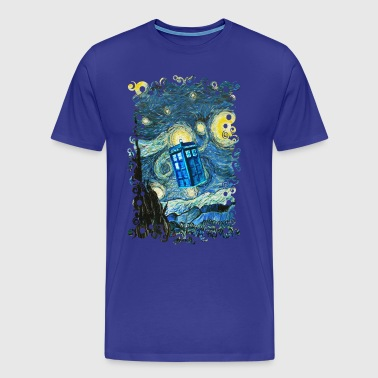 Flying Blue Phone Booth abstract paintings - Men's Premium T-Shirt