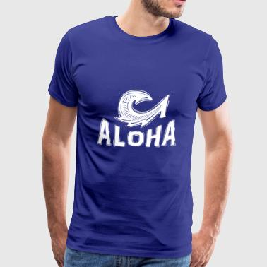Aloha Maui Fish Hook in White - Men's Premium T-Shirt