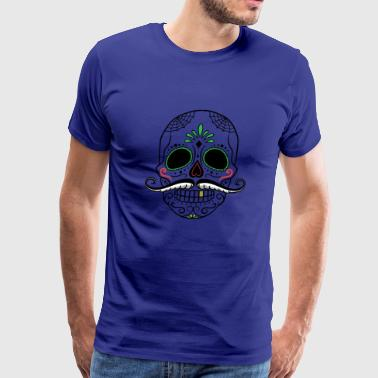 Colorful skull with beard - Men's Premium T-Shirt
