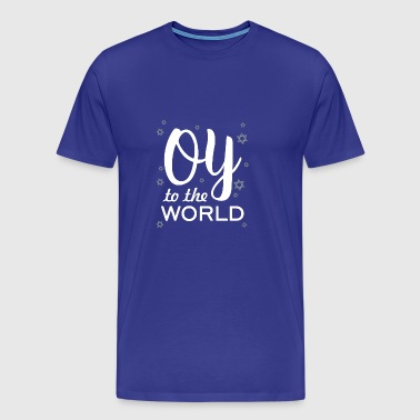 Oy To The World Funny Hanukkah Christmas Snow - Men's Premium T-Shirt