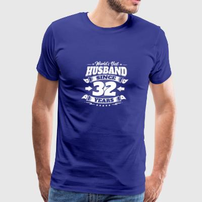 Wedding Day 32nd Anniversary Gift Husband Hubby - Men's Premium T-Shirt